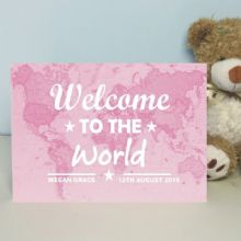 Personalised Welcome To The World Map Card - New Baby Boy or Girl Keepsake Card